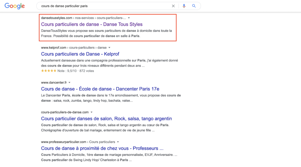Positionnement google